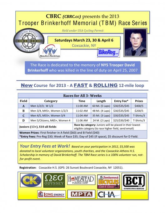Trooper Brinkerhoff Memorial Race 2013 Flyer png